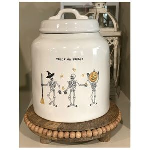 Rae Dunn Trick Or Treat Dancing Skeleton Canister